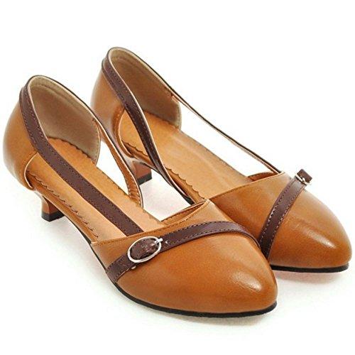 TAOFFEN Damen Gemutlich Schlupfschuhe Geschlossene Schuhe Kitten Heel Sandalen Braun