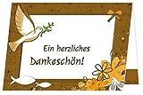 Kommunion Danksagungen - eigener Text wird eingedruckt, für Mädchen und Jungs, Taube Fisch, 10 Karten, DIN A6 Format