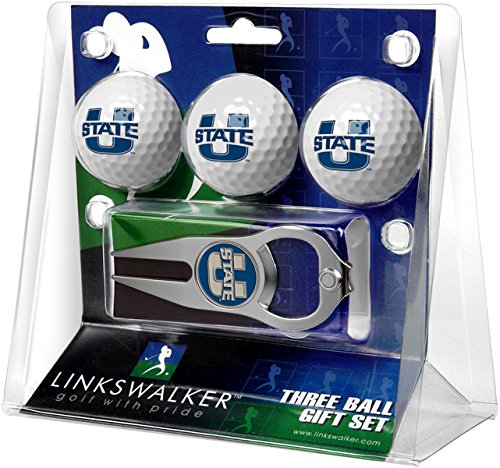 LinksWalker 3 Utah State University Aggies-3 Ball Geschenk Pack mit Hat Trick Pitchgabel, Weiß, One Size Utah State University