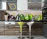 Küchenrückwand Frischgemüse auf Einem Holztisch Nischenrückwand Spritzschutz Design M1012 210 x 50cm (B x H) - Aluminium 3mm Rückwand Küche Fotorückwand Küchenbild Bild Foto Motiv Herd