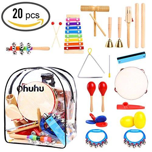 Ohuhu Musikinstrument-Spielzeug, 20 STK musikalische Instrucments, Kleinkind-Musik-Spielwaren, Rhythmus-Percussions-Set für Baby-Kind-Kind-Jungen-Mädchen