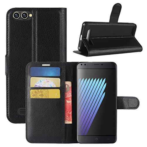 HualuBro Doogee X30 Hülle, Premium PU Leder Leather Wallet Handyhülle Tasche Schutzhülle Case Flip Cover mit Karten Slot für Doogee X30 5.5 Inch Smartphone (Schwarz)