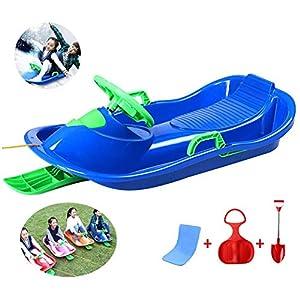 ZQQ Kunststoffrodel,2-Personen Kunststoff Schneeschlitten Lenk Skischlitten Mit Bremsen Kunststoff Rennschlitten Schneeschlitten Schlitten Für Kinder Erwachsene