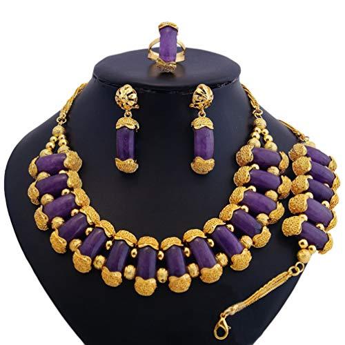 WANZIJING Achat Perlen Schmuck Sets, Afrikanische Hochzeit Perlen Schmuck Set Gold überzogenes Halsketten Armband Set für Frauen