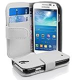 Cadorabo Coque pour Samsung Galaxy S4 Mini ALBÂTRE Blanc Housse de Protection Etui Portefeuille Cover pour S4 Mini - Stand Horizontal et Fente pour Carte