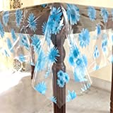 Griiham Transparent And Blue Base 6 Seater Table Cover With Blue Colour Floral Print…