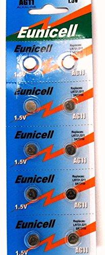 Eunicell AG11 Lot de 20 piles boutons alcalines de type 361/362 compatibles avec les piles G11/LR58/LR58SW/LR721/LR721SW/SR721W