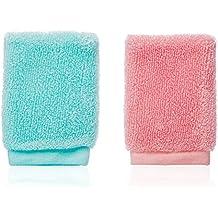Lesanté Naturfaser Gesichtspeeling Fingerhandschuh   Reinigung und Peeling (Türkis/Rosa)