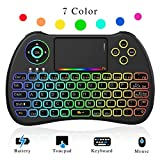 (Updated 2018, Rainbow Backlit) Mini Wireless Keyboard 2.4GHz with Touchpad Mouse, LED Backlit, Rechargable Li-ion Battery
