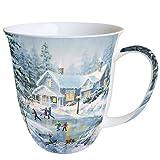 Ambiente Weihnachten Tasse Abend Skating Tasse 0,4 l Fine Bone China Porzellan Becher Bone China, Mug, Tasse, Fuer Tee Oder Kaffee ca. 0,4L Evening Skating -Ideal Als Geschenk