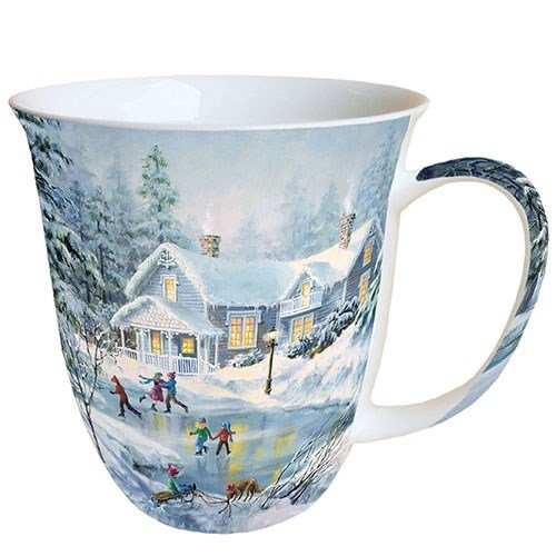 Porzellan Becher Bone China, Mug, Tasse, Fuer Tee Oder Kaffee ca. 0,4L Evening Skating -Ideal Als Geschenk Bone China Fine China Mug
