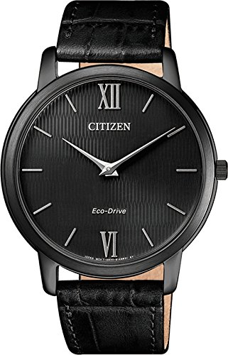 Orologio uomo quarzo citizen display analogico cinturino pelle nero e quadrante nero ar1135-10e