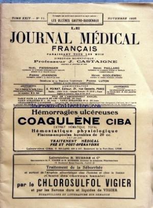 JOURNAL MEDICAL FRANCAIS (LE) [No 11] du 01/11/1935