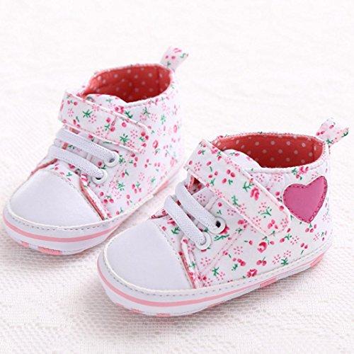 Ouneed® Bebe Chausson Lacet Premier Pas Velcro Tollder Shoes (11, Rose) Rose 1
