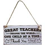 Tinksky Jour Pendaison Sign Plaque Grands Maîtres de l'Enseignant Changent le Monde