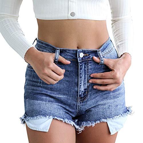 UFACE Damen Shorts Low Rise Junioren Zusammengeklappt Saum Denim Sexy Gerissene Jean dehnbar Notleidende Shorts Casual Fit Perfekt, Größe 32-46