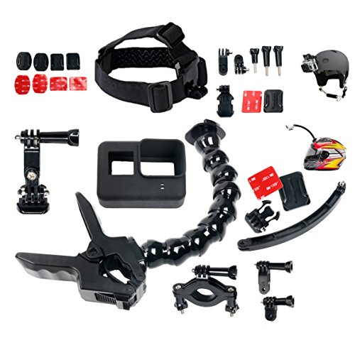 Yaetact Backen Flex Klemme mit 22 PCS All in One für GoPro Zubehör Kit Bundle Bike Motorrad Mountain Dirt Bike ATV Offroad BMX Boot