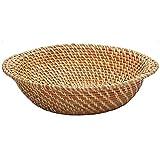 Cestino con Coperchio in Rattan Fruit Bowl Pane Caramelle Cesto Food Storage Rettangolo Tavolo Ristorante Che Serve (Size : 33 * 9cm)
