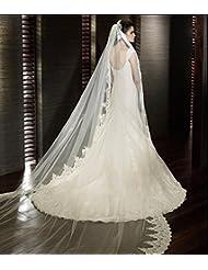 W & TS de un solo nivel velo Catedral de velo novia encaje borde apliques de novia encaje de tul de borde festoneado