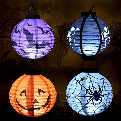 4 Stück Halloween Hängen faltbar Papier Laternen mit Spinne, Kürbis, Fledermaus, Skelett Design Laternen Dekoration für Halloween Party (Fledermaus-wand-hängen)