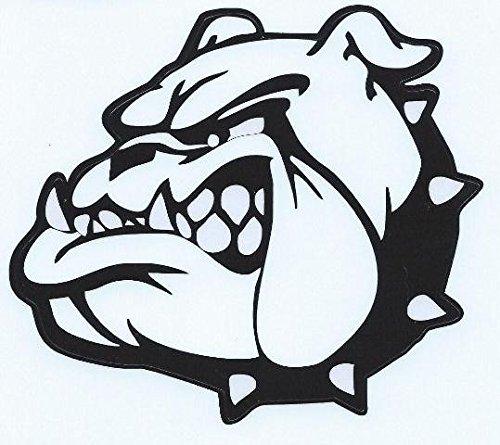 13,2x 11,7cm schwarz weiß Bulldog Maskottchen Bumper Aufkleber Aufkleber Fenster Aufkleber von stickertalk®