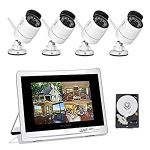 "YESKAMO Wireless CCTV Home Security Camera Systems with 12"" LCD HD Monitor 4pcs 1080P Wifi IP Cameras 2.0 Megapixel Outdoor Video Monitoring Surveillance Kits Pre-installed 2TB HDD for Recording"