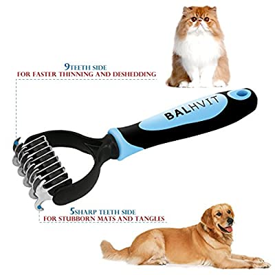 Balhvit Dog Brush Grooming Kit with Deshedding Tool & Dematting Comb, Professional Pet Grooming Brush + Double Blades Undercoat Rake for Dogs Cats with Short/Long Hair, Dramatically Reduce Shedding from Balhvit