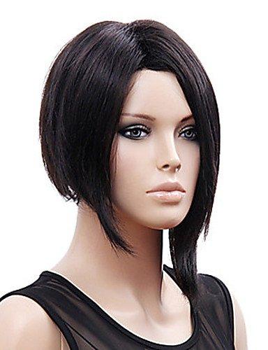 Mode Perücken WIGSTYLE Mode schwarz kurze glatte Haare Perücke synthetische Perücken rihanna Stil der neuen (Blonde Perücke Rihanna)