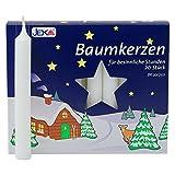2er Pack Baumkerzen weiß ca. 13 x 105 mm (2 x 20 Stück) Weihnachtskerzen, Christbaumkerzen, Pyramidenkerzen