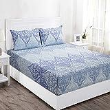 Maspar Superfine 144 TC Cotton Double Bedsheet with 2 Pillow Covers - Floral, Blue (BL31969)