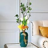 Vase Keramikvase Künstliche Blume Luxus Moderne Einfachheit Tisch Mit Blumen Dunkelgrün/Gold,B