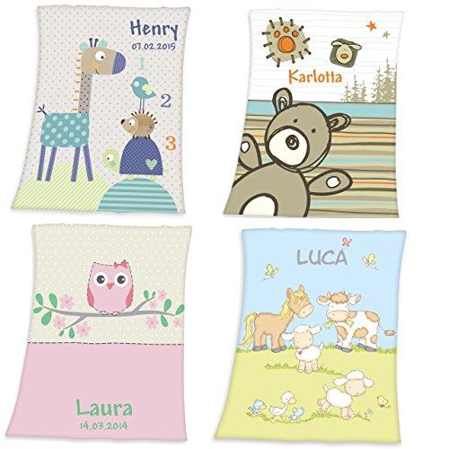 Wolimbo Flausch Babydecke mit Namen und Eule türkis-blau - personalisierte/individuelle Geschenke für Babys und Kinder zur Geburt, Taufe und Geburtstag - 75x100 cm