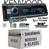 Mercedes A-Klasse W168 - Kenwood KDC-X7100DAB - DAB+ | Bluetooth | 2X USB hinten | iPhone/Android - Autoradio - Einbauset