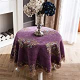 Dafa Tischdecken Chenille Jacquard Kleine Runde Square Custom Tischabdeckung Kaffee Schreibtisch Einfache Garten Kleine Runde Tisch Cafe Solid Color Antependium lila (Size : Round-120cm)