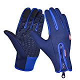 CBValley Windproof Touchscreen Sport Gloves Unisex Winter Outdoor Full Finger Gloves for Running Cycling Skiing Hiking Hunting Climbing Camping, Outdoor Sports in Winter (Blue, M)