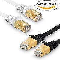 2 x Cavo di Rete Ethernet Cat 7 Cavetto Lan RJ45 Patch Alta Velocità S/STP 10 Gbps 750MHz Rame Intrecciato, Piatto - 5FT/1.5M