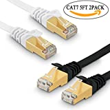 JONI FUN 2 x Cavo di Rete Ethernet Cat 7 Cavetto LAN RJ45 Patch Alta Velocit¨¤ S/STP 10 Gbps 750MHz Rame Intrecciato, Piatto - 5FT/1.5M