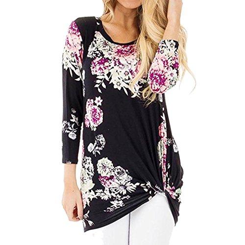 OVERDOSE Damen Lässige Blumen Splice-Streifen Druck Rundhalsausschnitt Pullover Bluse Tops T-Shirt (S, B-C-9)
