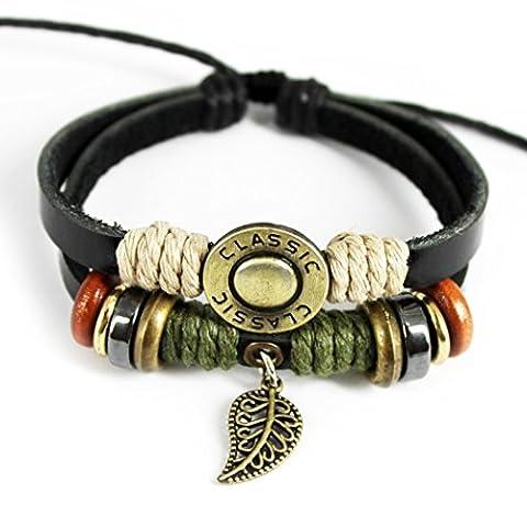 Plus de Fun Unique Charm pendentif feuille Bague classique Touche deux rangées de cuir Réglable Bracelet