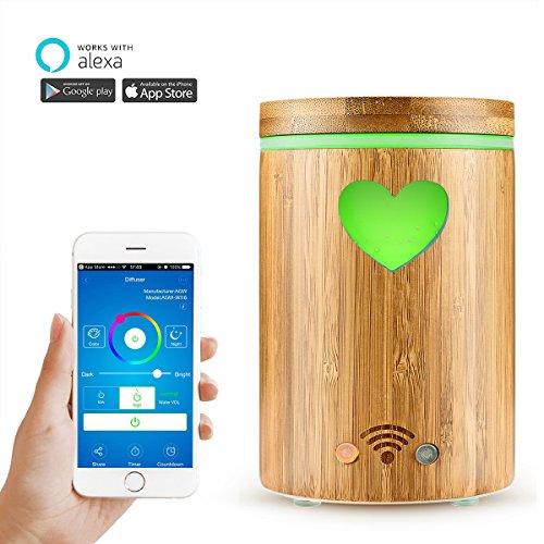 AOZBZ WiFi Smart Diffusore Olii Essenziali Google Home e App Controllo, bambù Naturale 4 in 1 Ultrasuoni Diffusore di Aromi, Umidificatore Nebbia, Purificatore d\'Aria, e RGB Colorato Luce a LED 160ML