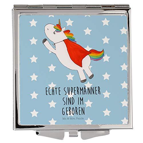 Mr. & Mrs. Panda Schminkspiegel, Handtasche, Handtaschenspiegel quadratisch Einhorn Superman Geburtstag mit Spruch - Farbe Blau Pastell