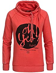 Eight2Nine Damen Sweatshirt mit Schalkragen LETN-009 D1161L01085AENLE middle red L