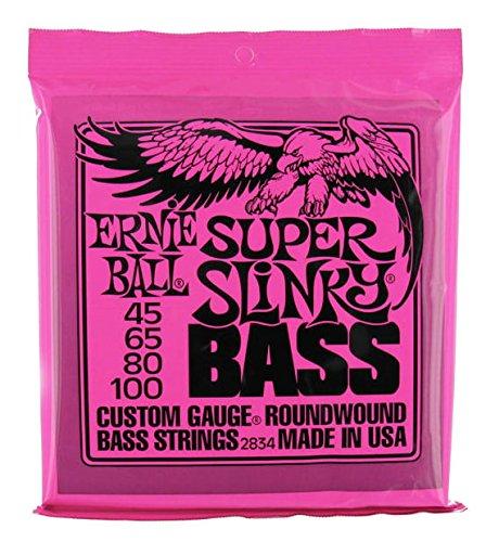 Ernie Ball Super Slinky Bass Bass 4pieza (S) Stahl Gitarre Saiten für Musikinstrumente (Gitarre, Stahl, Bass, 4Stück (S))