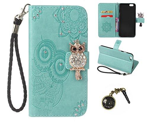 iPhone 6 (4.7 Zoll) Wallet Case für Apple iPhone 6 Flip Hülle Laoke Eule Blumen Muster Handyhülle Schutzhülle PU Leder Case Skin Brieftasche Ledertasche Tasche im Bookstyle in +Staubstecker (11) 3
