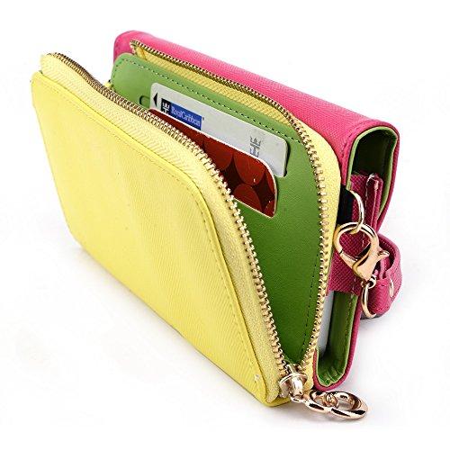 Kroo d'embrayage portefeuille avec dragonne et sangle bandoulière pour Alcatel POP D1Smartphone Black and Orange Magenta and Yellow