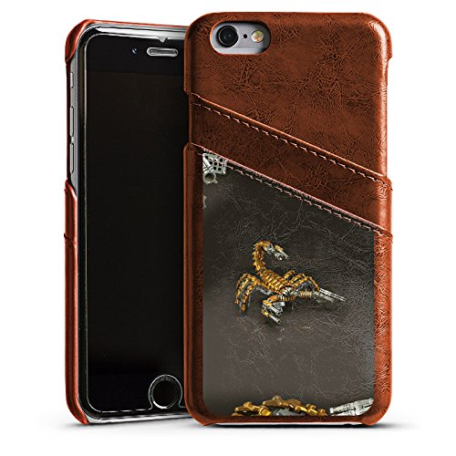 Apple iPhone 4 Housse étui coque protection Scorpion Or Scorpion Étui en cuir marron