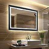Tonffi Bad Spiegel mit LED Beleuchtung | Badspiegel Badezimmerspiegel |100x60CM 4000K mit unsichtbarem Schalter