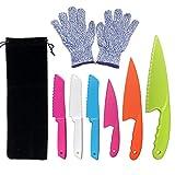 LLGLEU 6-teiliges Kunststoff-Küchenmesser-Set mit Schnittfestigkeit - Kunststoffmesser - Kids Safe Chef Nylonmesser/Kinder-Kochmesser für Obst, Brot, Kuchen, Salat und Salat (Multi-Color 1)