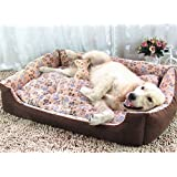 Weare Home Thickened Corduroy Washable Dog Bed Cuddler & Lounge with Solid Memory Cotton for Warm Keeping in Cold Winter.All-in-One Desgin in Many Colors and Sizes.With a 2 Sides Usable Pad.(Red,Beige,Coffee)