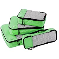 AmazonBasics 4-Piece Packing Cube Set - Small, Medium, Large, and Slim, Green